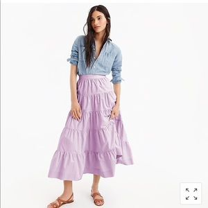 J Crew Tiered Midi in cotton Poplin sz 10